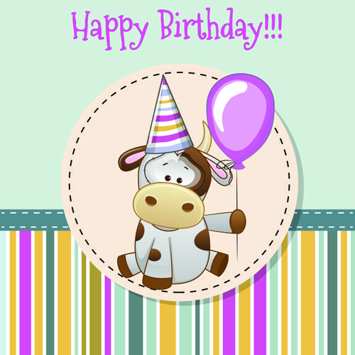 Happy birthday baby greeting cards vector 04 – Birthday Cards Baby