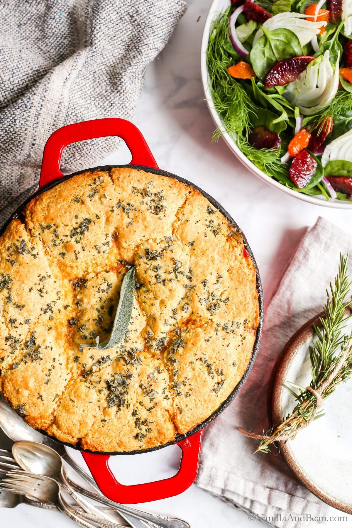 Black Eyed Pea Sweet Potato Cornbread Pot Pie | Vanilla And Bean