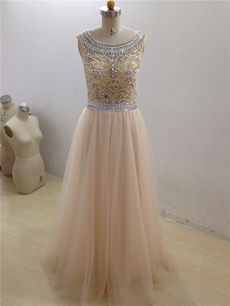 Real sample tulle prom dress luxury beaing prom prom dresses
