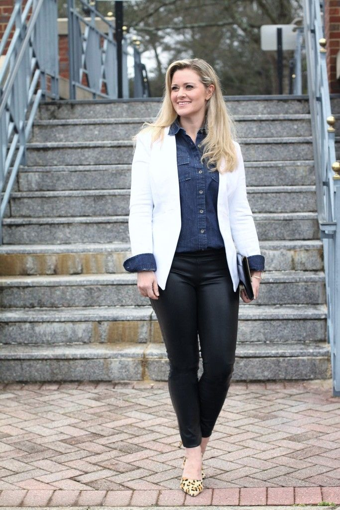 982954681c42 how to wear a white blazer with leather pants to create a great night out  outfit.