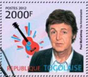 República de Togo 2012 - James Paul McCartney es un cantautor,multiinstrumentista, y compositor británico. Junto a John Lennon, George Harrison y Ringo Starr, ganó fama mundial por ser el bajista de la banda de rock The Beatles, reconocida como la más popular e influyente en la historia de la música popula