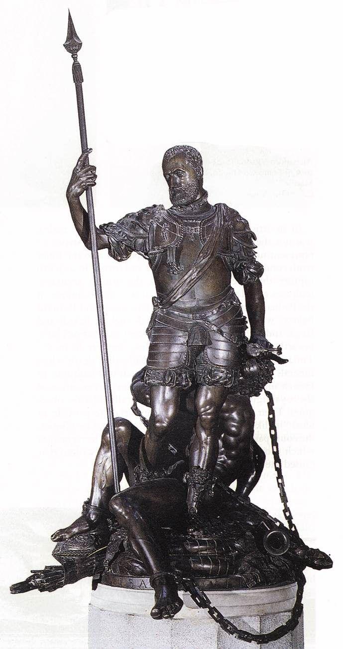 """Leone Leoni (ca. 1509 – 1590) Statue """"The Emperor Charles V Restraining Fury"""" 1550-1553 Bronze Museo del Prado, Madrid"""