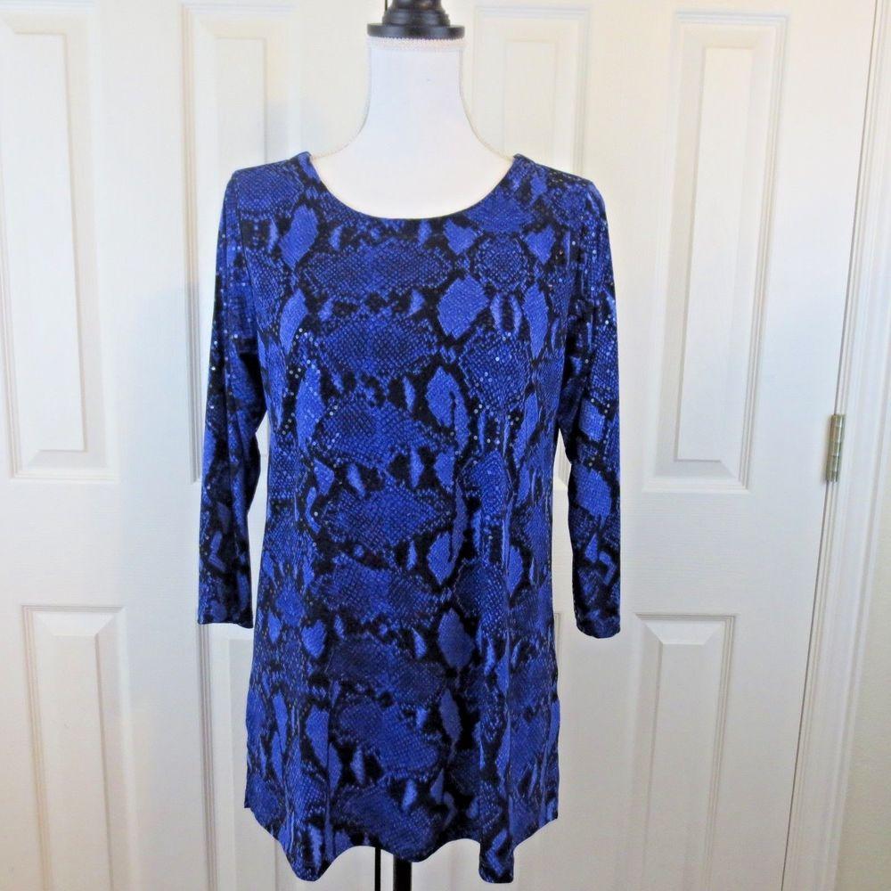 Susan Graver Snake Print Liquid Knit Top With Sparkles Sz M 10 12