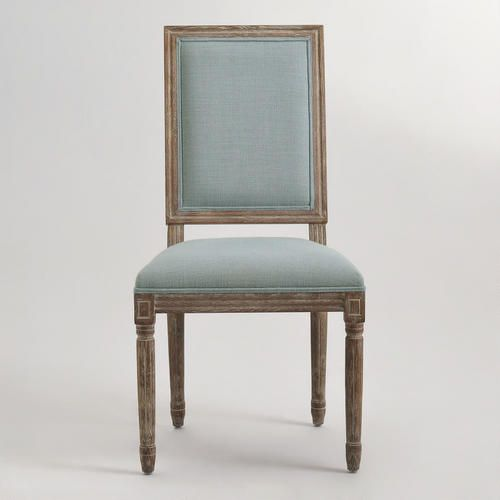 Blue Linen Square Back Paige Dining Chairs Set Of 2