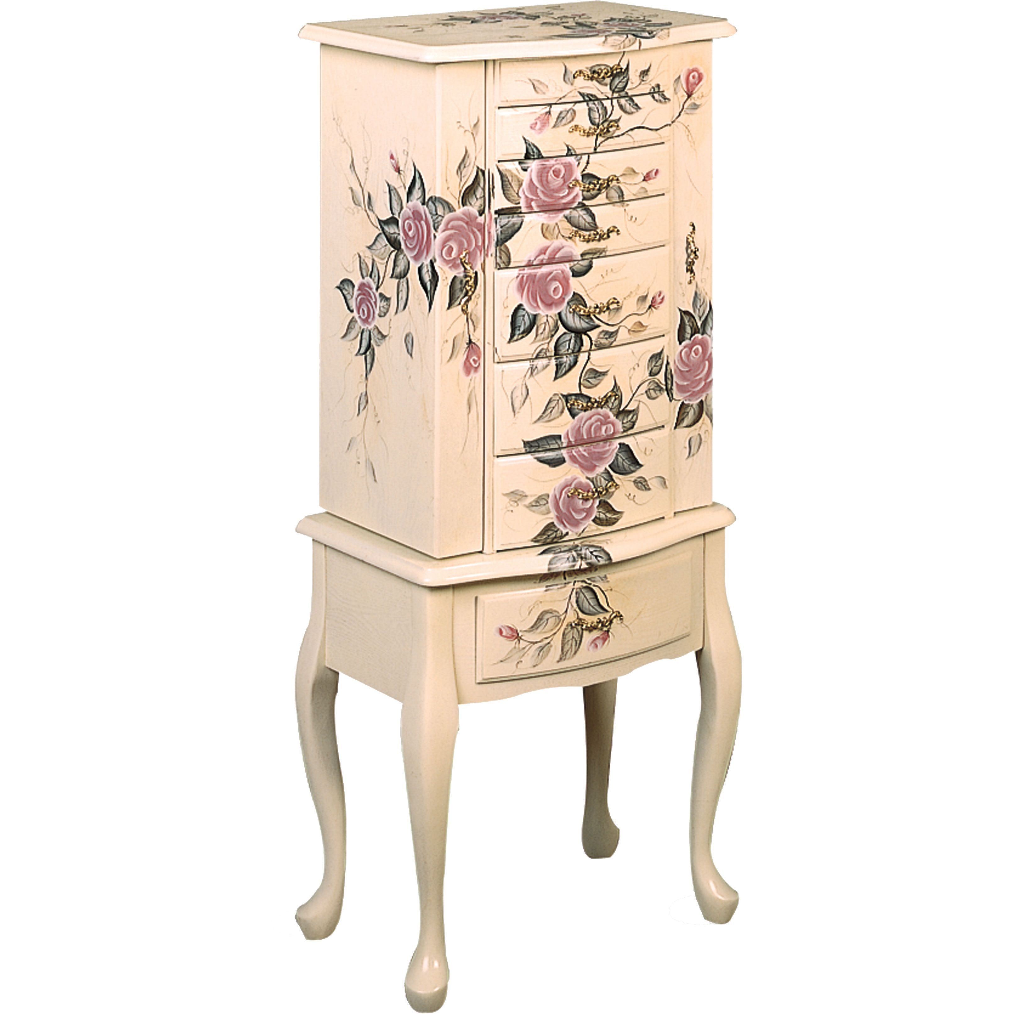 Coaster Company Floral Jewelry Armoire Jewelry Armoire Beige Off