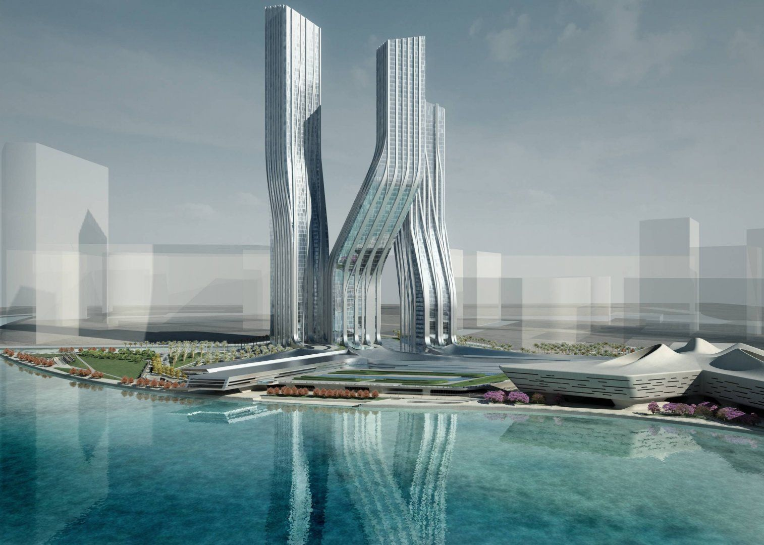 Spectacular Zaha Hadid Futuristic Architecture Inspiration: Great Signature  Towers In Unique Folded Architecture Design With Full Of Glass W.