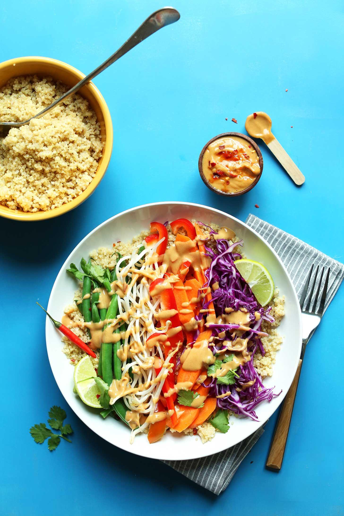 Quinoa Gado Gado Bowl Minimalist Baker Recipes Recipe Recipes Gado Gado Vegetarian Recipes
