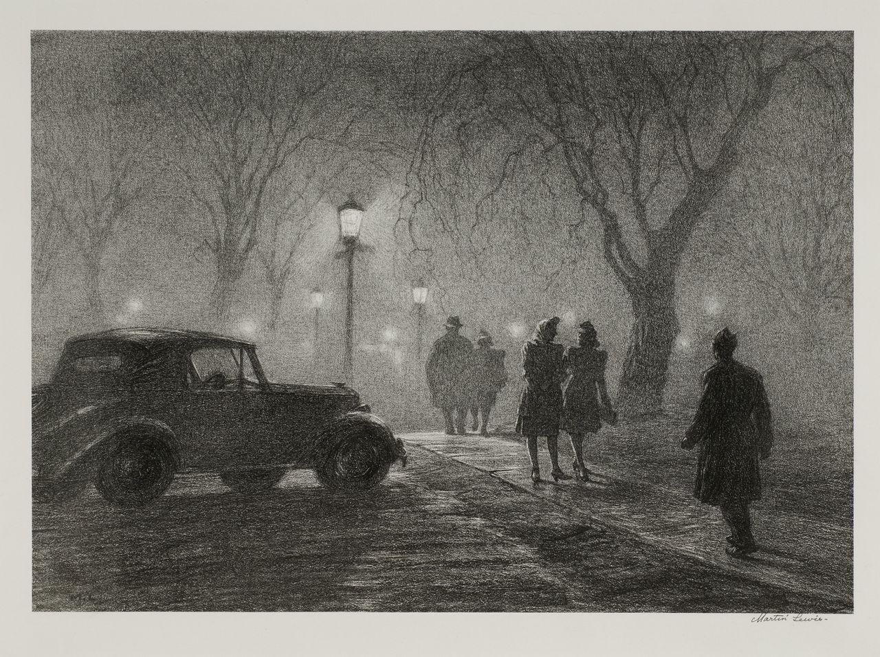 Martin lewis misty night lithography edward hopper