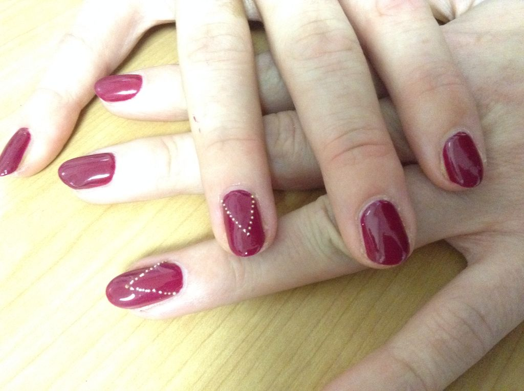 Tinted Love Shellac with caviar bead detail