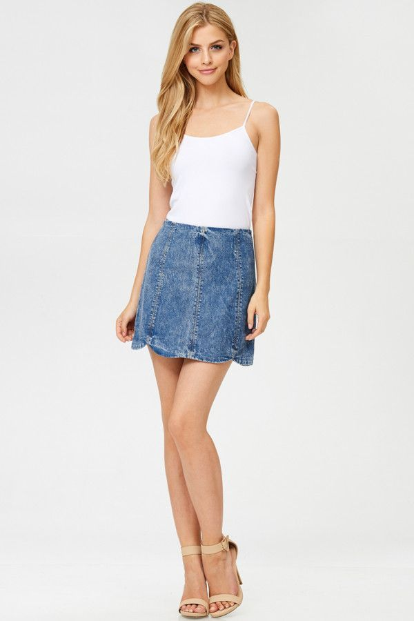 fc9e0a1abac Faded Denim Mini Skirt | modeling inspo | Denim mini skirt, Mini ...