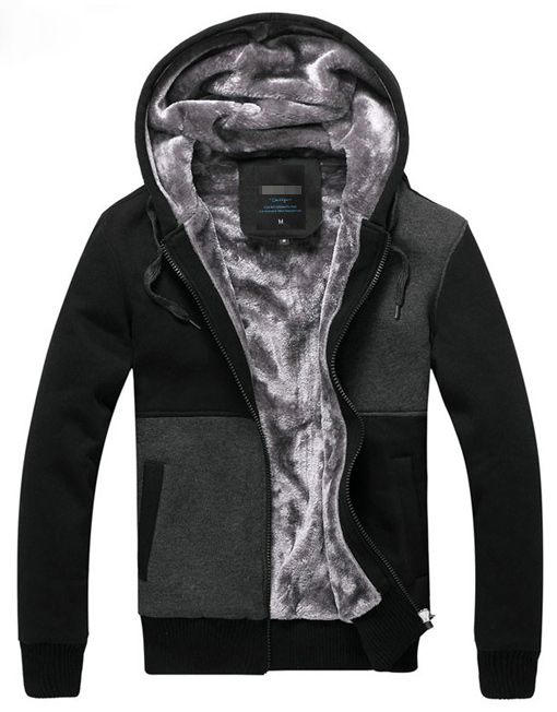 Men Zipped Up Hoodie with Fur Lining Warm Sweater Jacket