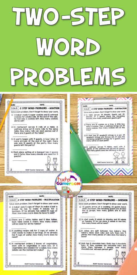 2 Step Word Problems Worksheet Bundle Teacher Gameroom Products