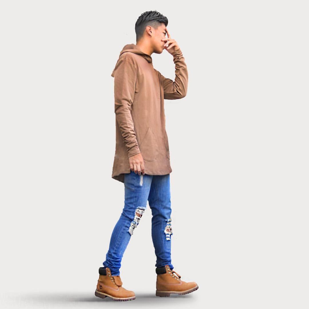 "02e020eb7 EDMOND LUU on Instagram: ""Some Beige Some Blue // @chichimaison beige hoodie,  @summithome Ripped Jeans"""