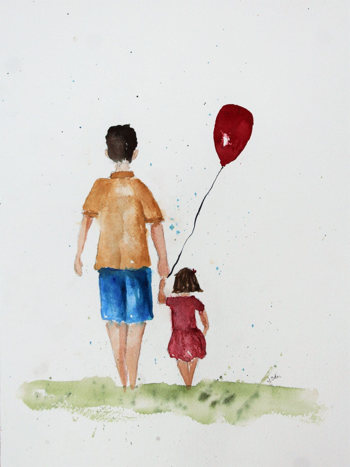 I painted this watercolor to create a card for my Dad for Father's Day.  I wanted to create a feeling with art that represents a bond that can't be broken.  The bond between a father and daughter.  A representation of the feeling of being Daddy's little girl – no matter age or time.  Love you Dad. xoxox #JodiMcKinney