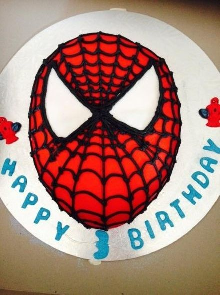 Boys Birthday cakeSpiderman faceButter cream icingbasic cake