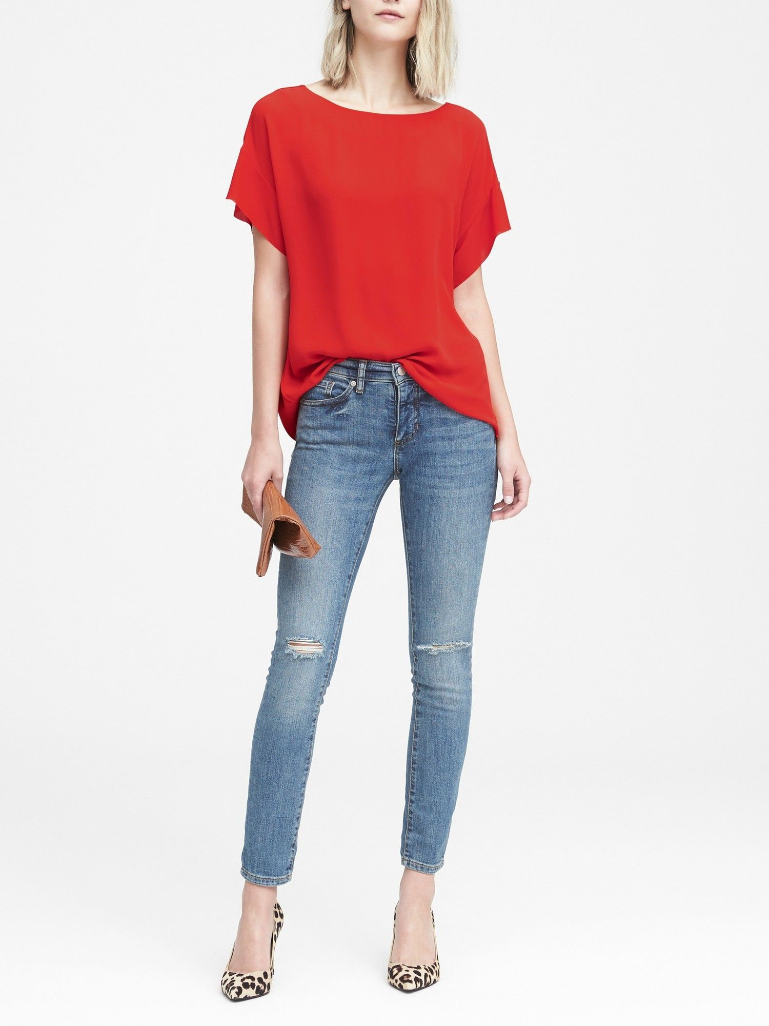 Banana Republic Womens FlutterSleeve Polished Tee Red