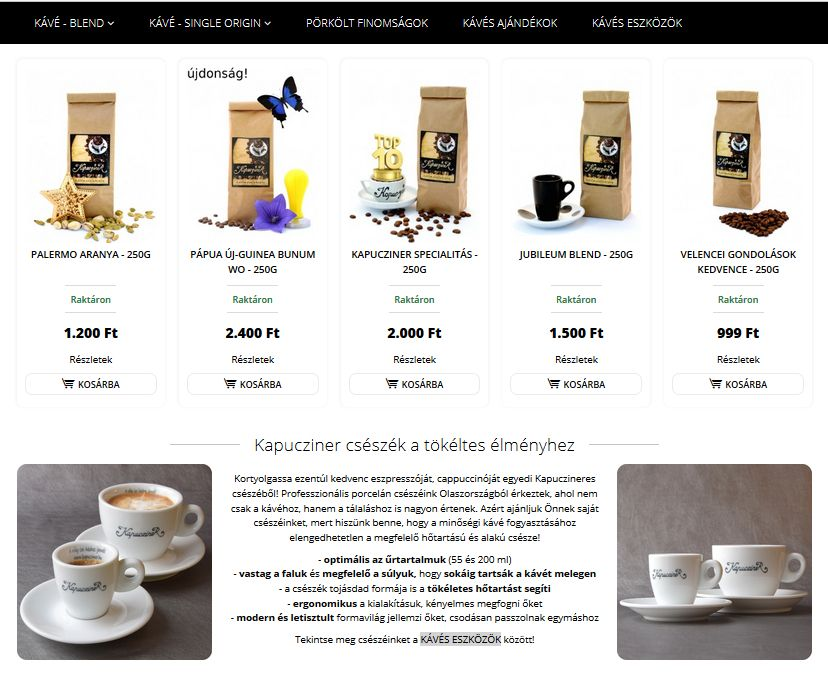 webdesign, branding and photo by BORI for Kapucziner coffee roasting manufactory