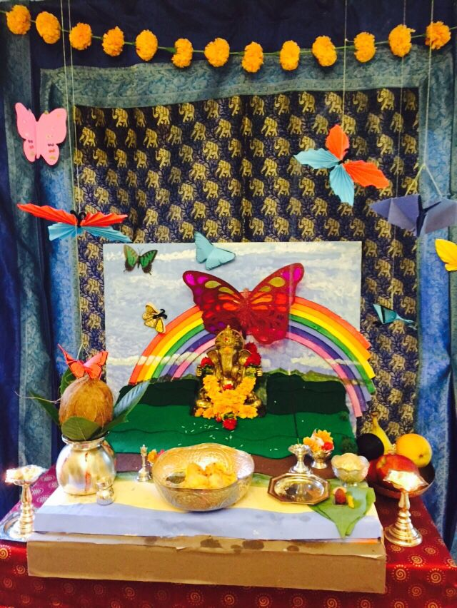 Rainbow butterfly garden for ganesh ganpati with origami butterflies and handmade styrofoam also best images dream wedding ceremonies rh pinterest