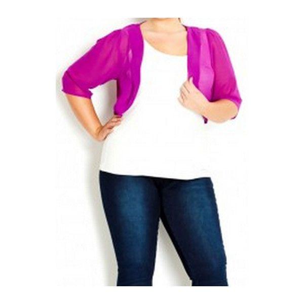 Rotita Purple Chiffon Crop Cardigan ($19) ❤ liked on Polyvore ...