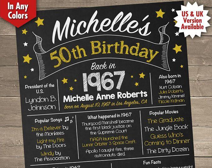 Printable Birthday Facts ~ 50th birthday gift for women 50th birthday chalkboard 50th