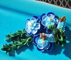 Image result for peacock colored kanzashi flowers