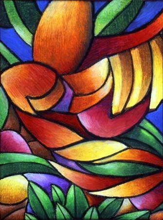 Abstract Oil Pastel Art