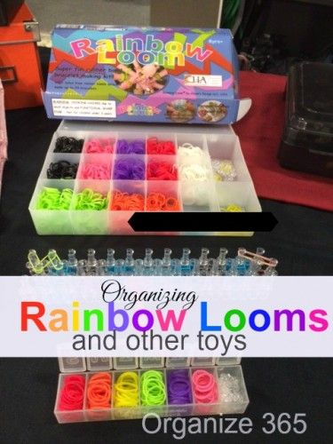Ideas for Rainbow Loom organization at home and on the go, and other toy organization ideas too.   Organize 365