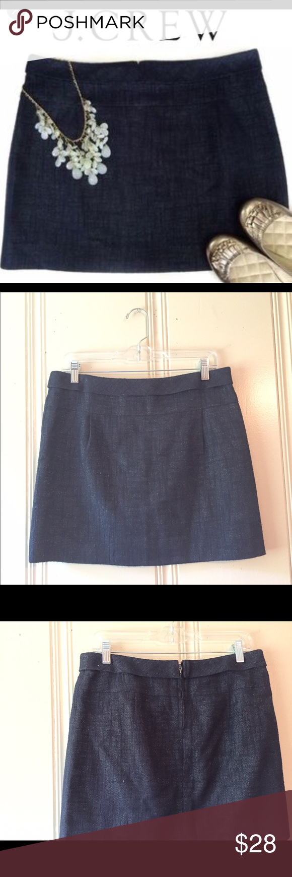 J.CREW navy sparkle miniskirt SZ 6 GORGEOUS J. Crew sparkle mini skirt SZ 6. Great year round skirt for going out! Wear it with tank now & pretty top & leggings in fall for a touch of sparkle & glamour. Zipper at back w/hook & eye closure. Cotton/linen blend & fully lined so super soft & comfy. Very slight piling at side only noticeable due to extreme close up to show silver sparkle in fabric. Waist is 32 in, length is 16 inches. Skirts Mini
