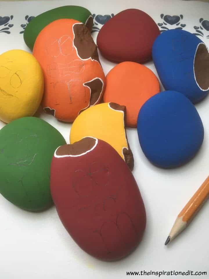 M&M Painted Rocks By Barbara Beal is part of Painted rocks, Pencil painting, Paint pens, Paint brushes, Red paint, Paint chips - If your'e looking for a fun rock painting idea or need to use up some chipped stones then this M&M painted rocks tutorial is the perfect way to
