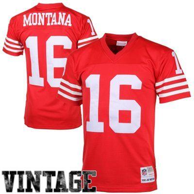 Mens San Francisco 49ers Joe Montana Mitchell   Ness Scarlet Retired Player  Vintage Replica Jersey bbac4a2db