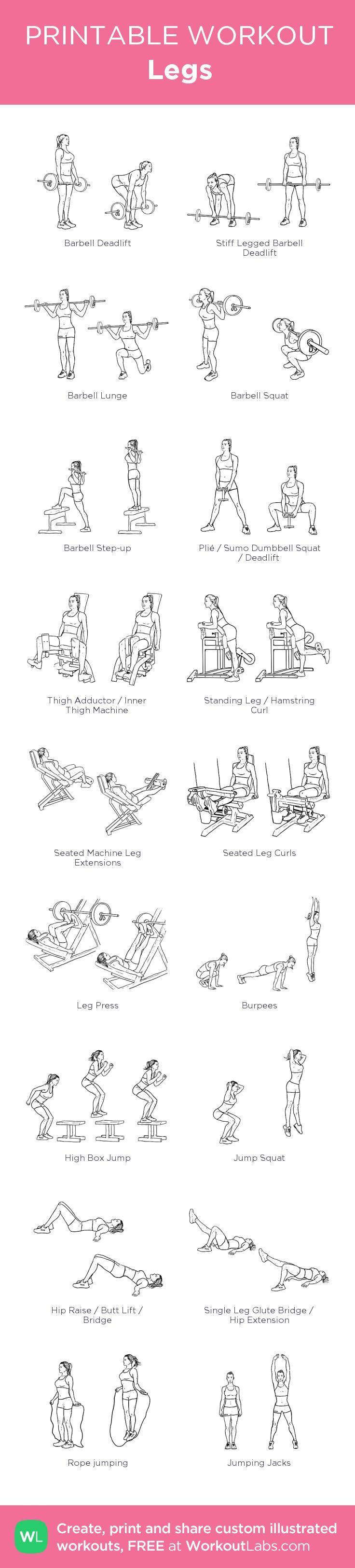 Legs: my custom printable workout by @WorkoutLabs #workoutlabs #customworkout
