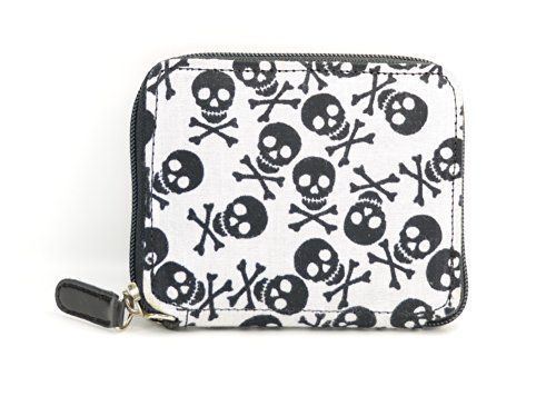 Fabric Leather Women's Skull Crossbone Wallet