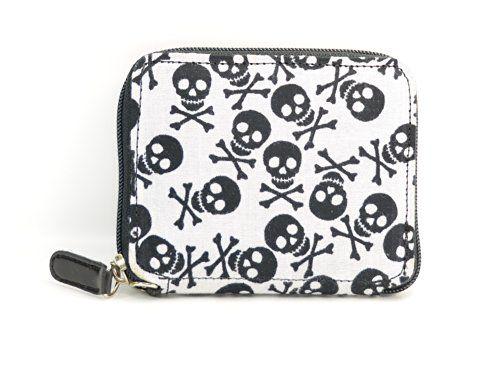 Fabric Leather Women's Skull Crossbone Wallet