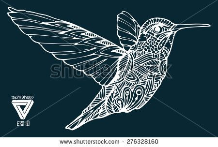 stock vector zentangle style hummingbird vector illustration