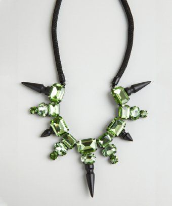 Noir : green crystal and stud bib necklace
