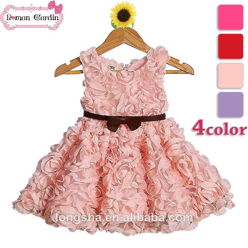rose flower fancy dress 2 6 kids fashion show dresses red