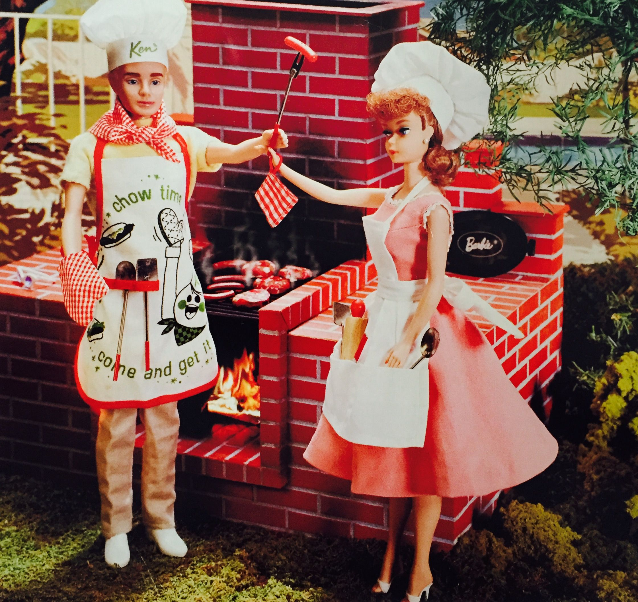 Vintage Ken Chef And Barbie BBQ