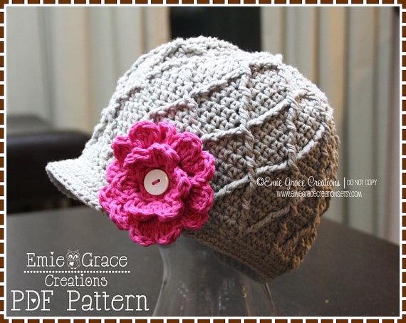 Crochet Newsboy Hat Pattern, Diamond Cable Brimmed Beanie, LISA ...