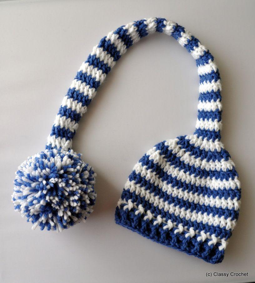 Free Pattern Crochet Elf Striped Pixie Hat Crochet Or Knit Hats