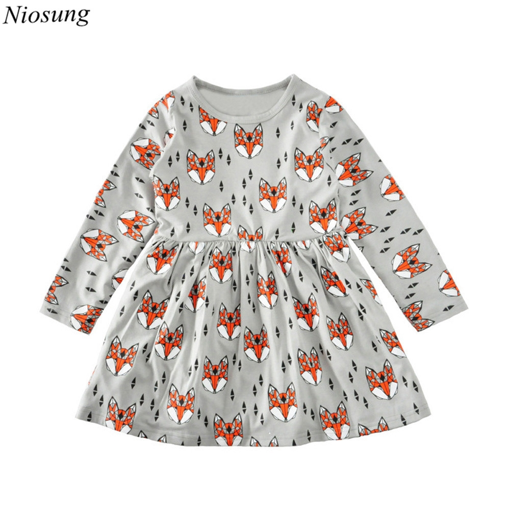 watch now fashion baby girl dress clothes long sleeve foxes