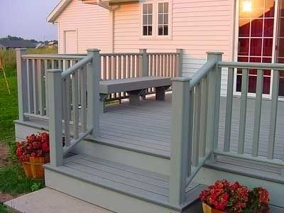 Geo-Deck driftwood gray composite decking and matching driftwood ...