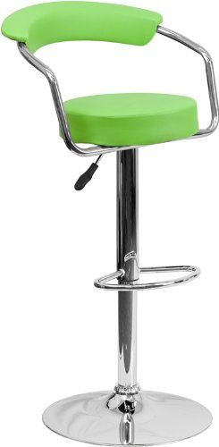 Amazon.com - Flash Furniture 2-Pack Contemporary Vinyl Adjustable Height Bar Stool with Arms and Chrome Base, Green - Barstools