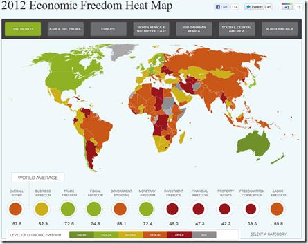 Economic freedom map