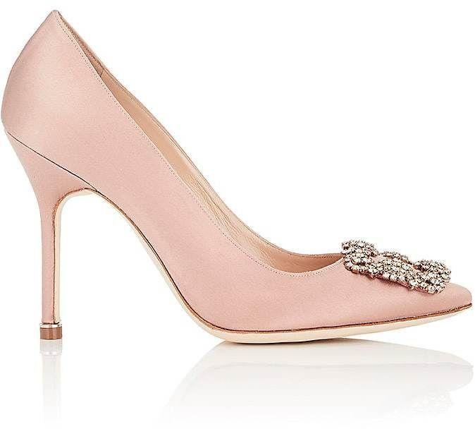 3c5dd232eb8b9 Manolo Blahnik Women s Hangisi Satin Pumps heels stilettos blush pink  jeweled rhinestones bridal bride wedding shoes comfy cute carrie bradshaw  sex in the ...