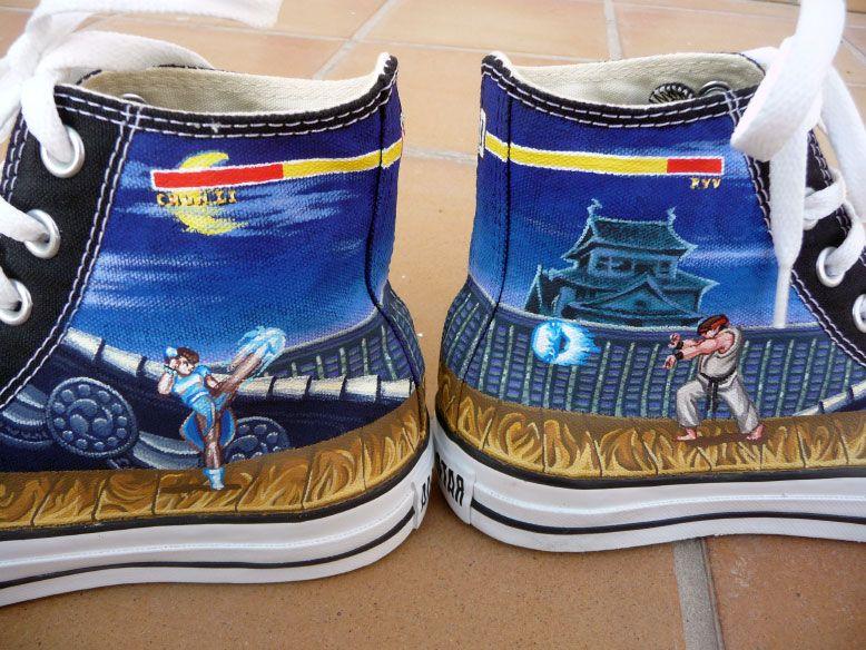 2708a0a344774a Street Fighter Custom Converse Chuck Taylors