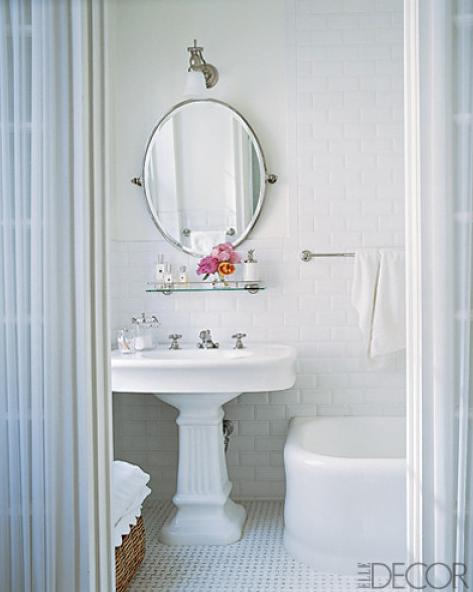 Charmant Randall Ridless   Beautiful, Chic Bathroom Design With White Pedestal Sink,  White Carrara Marble Basketweave Tiles Floor, Oval Pivot Mirror, Vintage  Glass ...