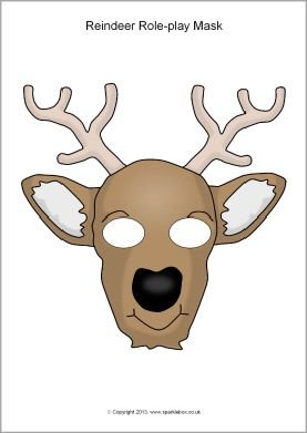 Reindeer Role Play Masks Sb10279 Sparklebox Mask For Kids