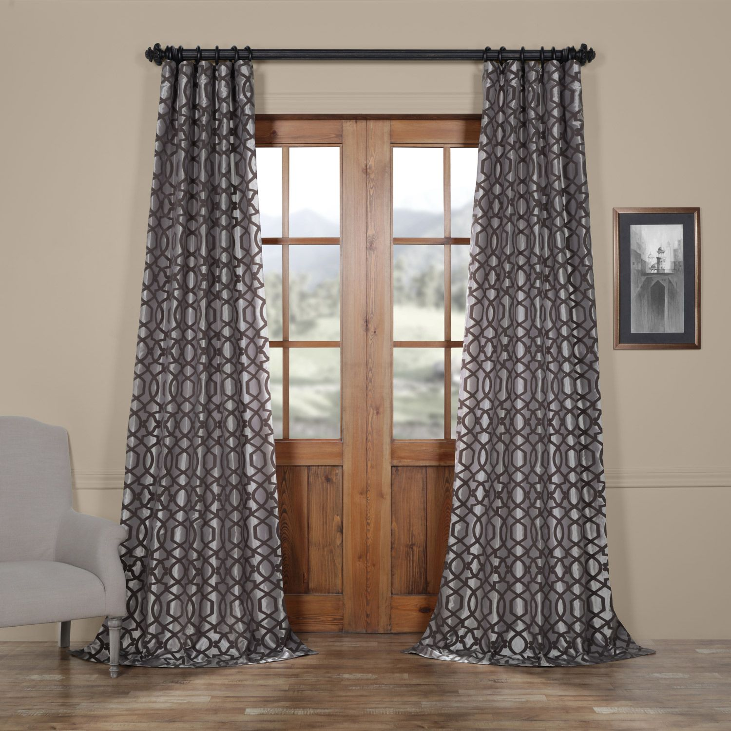 Filigree Grey Pewter Designer Flocked Curtain Half Price Drapes Silk Curtains Faux Silk Curtains