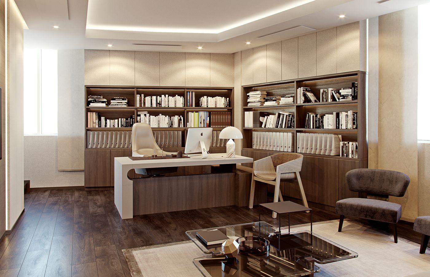 Modern classic CEO office interior on Behance | Modern ...