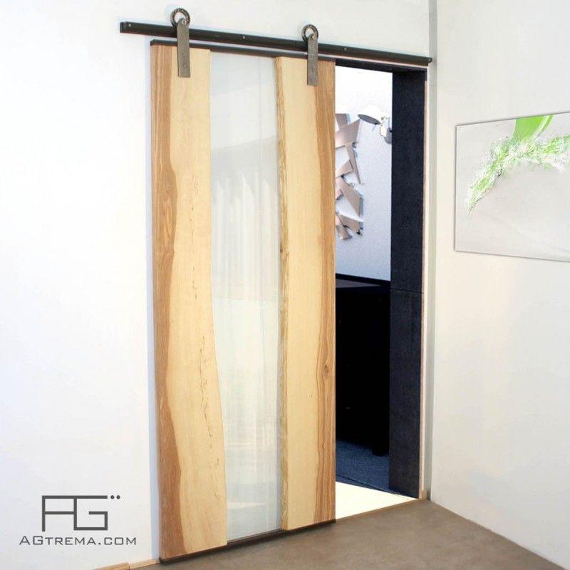 Gènus sliding door in Live-Edge Wood, Glass and Steel – …
